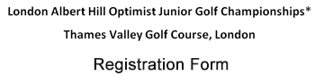 Junior Optimist Golf London ontario reg form