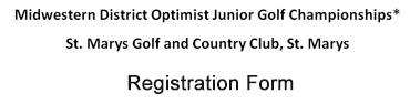 Junior Optimist Golf Registration Form Midwestern